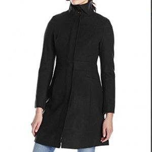 Via Spiga Womens Funnel-Neck Wool-Blend Coat Sz 10